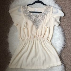 Maurices Cream & Silver Embroidered Blouse
