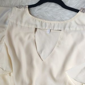 Maurices Tops - Maurices Cream & Silver Embroidered Blouse