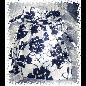 Strapless White with Blue Design Dress