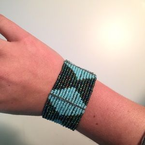 Jewelry - Handmade African Beaded Bangle with Clasp