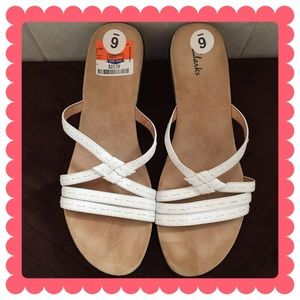 Clark's White Leather Sandals
