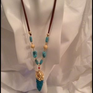 Jewelry - Tribal Style Turquoise Chord Necklace