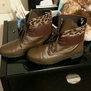 Brown & Cheetah Print Fold Down Combat Boots