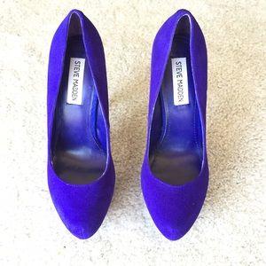 Steve Madden platform suede heels - royal purple