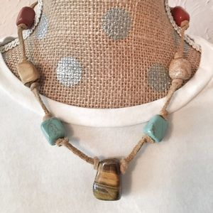 Anthropologie Jewelry - 7-bead boho necklace on leather-like cord
