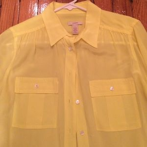 J. Crew Tops - JCrew silk yellow neon button down