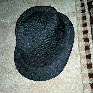 Black Pinstripe fedora hat