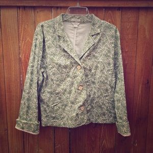 Christopher & Banks Jackets & Blazers - Green & Cream Print Blazer
