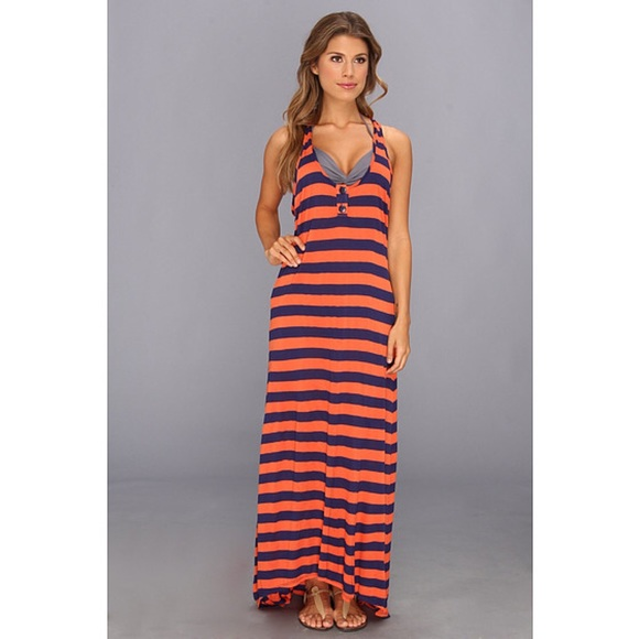 229183b3aca61 Swim | Orange Blue Striped Maxi Dress Coverup Beach | Poshmark