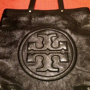 Crinkly Black Patent Leather Tory Burch BIG Tote