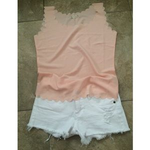 NEW Scalloped-edge Top in Coral/Light Pink