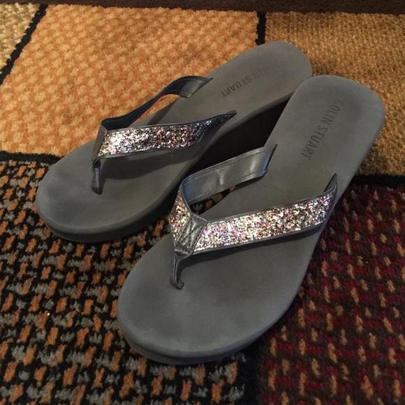 56 Off Colin Stuart Shoes - Gray Glitter Platform Flip -3187