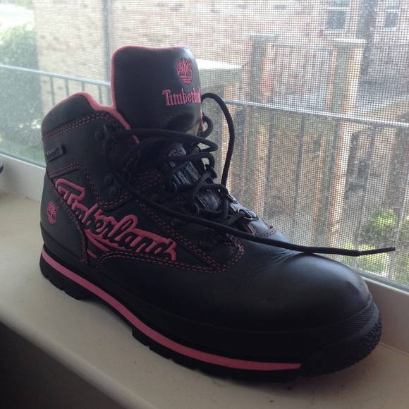 81 timberland boots pink and black timberland boots