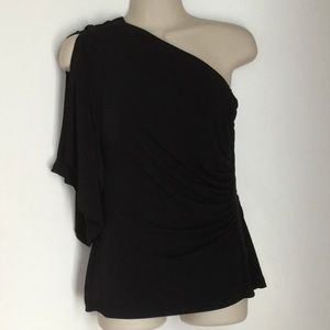 Cache One shoulder fancy black top
