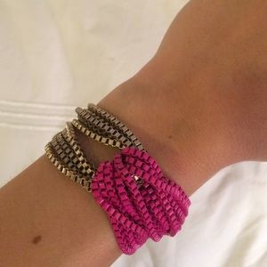 Pink and brushed gold chunky chain bracelet