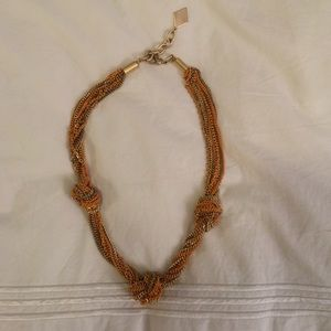 Orange and gold twisted chain knot necklace