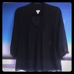 Frenchi Sheer Chiffon Black Blouse