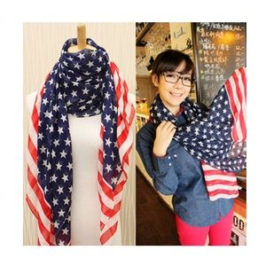 Accessories - Lightweight summery American flag print scarf.