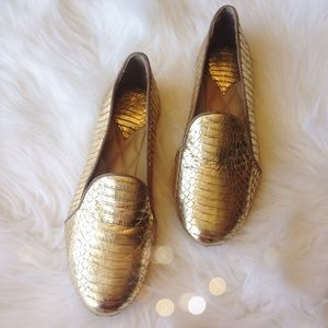 Authentic Brian Atwood Gold Metallic Python Loafer
