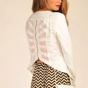 ovi Jackets & Blazers - Zipper Back White Blazer