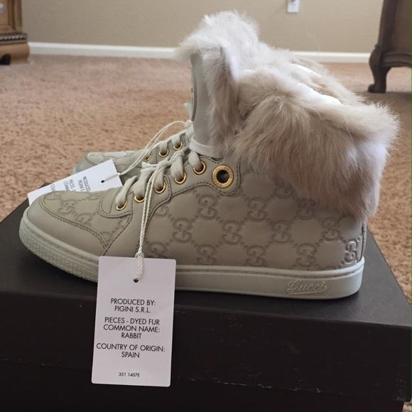 41391fc3b10 Gucci Shoes - Gucci Guccissima Rabbit fur Trim Coda Sneaker 35