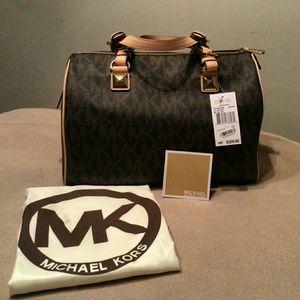 47b80844ed14 sale michael michael kors bags michael kors large grayson satchel brown  5bdd8 ecd3f