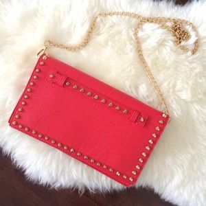 Handbags - Red Clutch and Shoulder Bag with Gold Studs