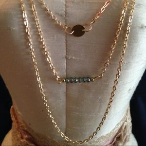Triple layered gold necklace