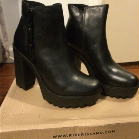 river island ankle Boots Burgundy Sz7