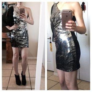 Dresses & Skirts - Mini black sequine one shoulder dress