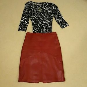 Cache red leather skirt