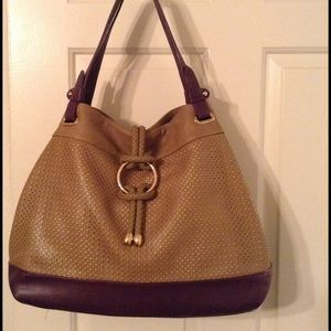 Segolene Paris Handbags - Segolene Paris Tan/Plum Handbag