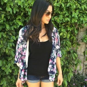 Floral Printed Open Cardigan