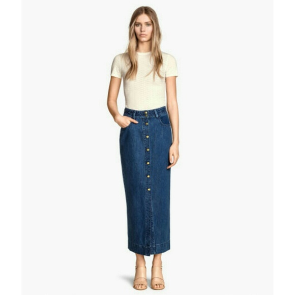 19% off H&M Dresses & Skirts - | H&M | Denim Midi Skirt from ...