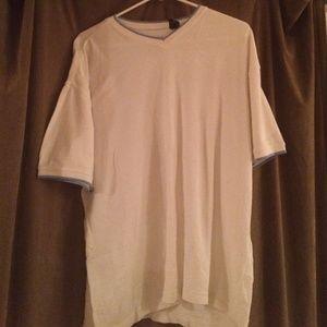 White shirt with blue trim