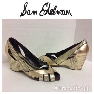 Sam Edelman Metallic Wedges Sz8.5