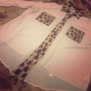 Ivory Chiffon Leopard Top
