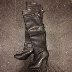 Zara over the knee black leather boots