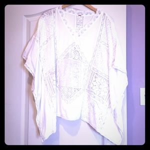 Free People lace and embroidered poncho top