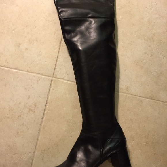 59 shoes italian black leather thigh high boots