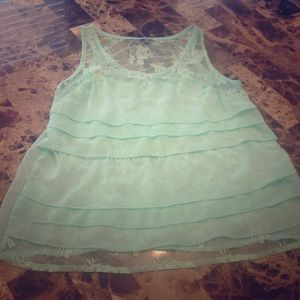 Mint Lace Chiffon Sheer Tank Top