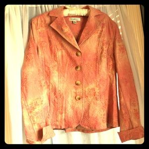 Salmon embroidered Coldwater Creek blazer