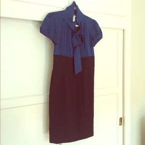 Silk Blue and Black Sheath Bow Dress by Suzi Chin