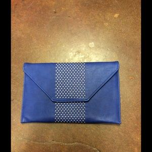 BLUE CLUTCH WITH GOLD DETAIL