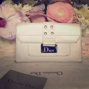 Dior White Leather Wallet