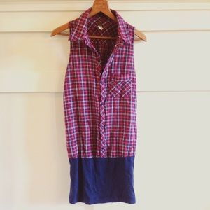 Free People Dresses & Skirts - + FP WE THR FREE + plaid blocked shirt dress