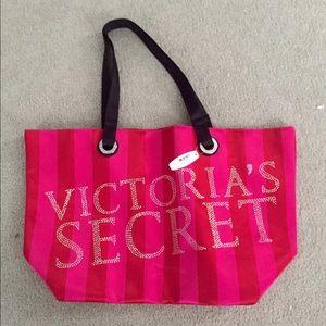 Pink Striped Victoria's Secret Tote
