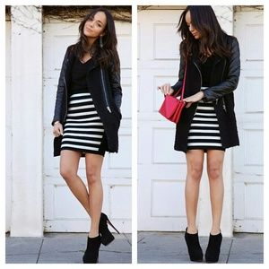 leather quilted contrast jacket