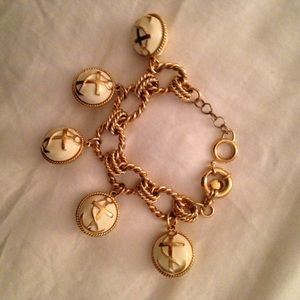 J.Crew anchor charm bracelet cuff bangle. Gold