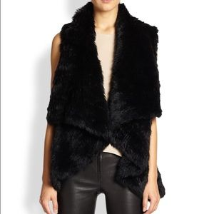 Alice + Olivia Harriet Rabbit Fur Vest - Sz S NWT!